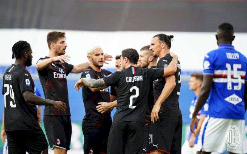 RAYAKAN GOL. AC Milan menang 4-1 atas Sampdoria di pekan ke-37 Liga Italia, saat bertandang ke Stadio Luigi Ferraris, Kamis (30/7/2020) dini hari WITA.foto: twitter @acmilan