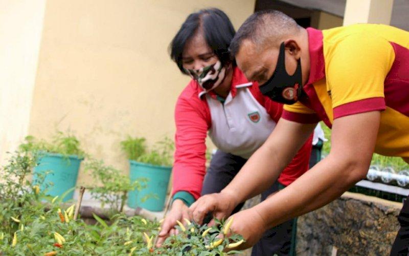 PANEN BERSAMA. Danyon C Pelopor Kompol Nur Ichsan bersama Dandenpom XIV/1 Bone Maria panen sayur bersama di Mako Batalyon C Pelopor, Jumat (10/7/2020). foto: istimewa
