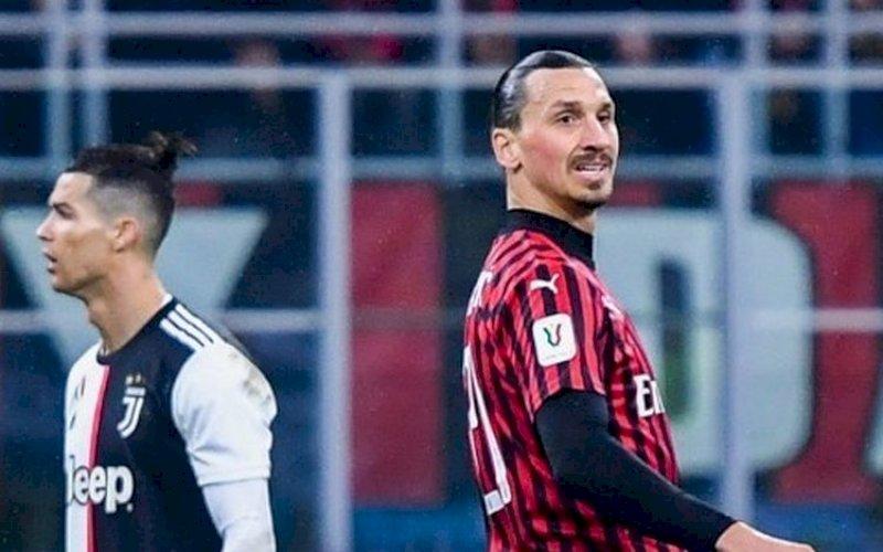 SELEBRASI. Pemain AC Milan Zlatan Ibrahimovic(kanan) melalukan selebrasi di samping pekain Juventus Cristiano Ronaldo pada pertandingan di San Siro, Rabu (8/7/2020) dini hari WITA. foto: istimewa.