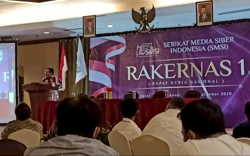 RAKERNAS. Suasana pelaksanaan Rakernas SMSI 1 di Hotel Marbella Anyer, Serang, Banten, Sabtu (26/9/2020). foto: istimewa