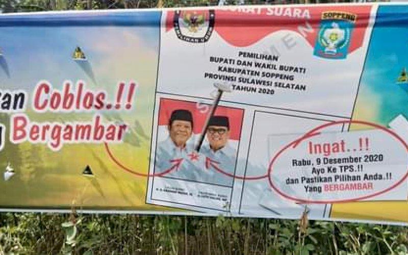 APK. Alat Peraga Kampanye (APK) pasangan calon Bupati dan Wakil Bupati Soppeng yang terpasangan di lapangan. Nampak, tulisan menimpali kolom kosong. foto: istimewa