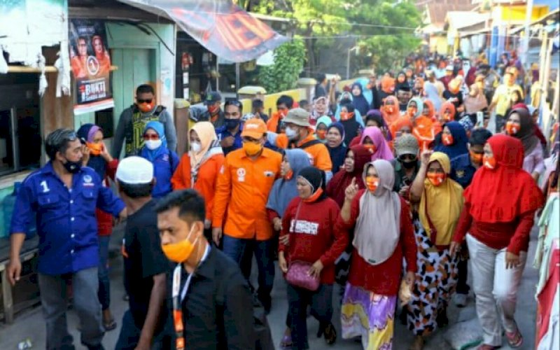 PENYAMBUTAN. Kejadiran pasangan Mohammad Ramdhan Pomanto-Fatmawati Rusdi (Danny-Fatma) Kepulauan Sangkarrang, Kota Makassar disambut disambut begitu spesial, Kamis (29/10/2020) kemarin. foto: istimewa