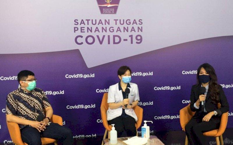 TALKSHOW. Suasana talkshow 'Perlindungan Ibu, Anak, dan Balita dari Covid-19' di Media Center Satgas Covid-19 Graha BNPB Jakarta, Rabu (13/10/2020). foto: istimewa