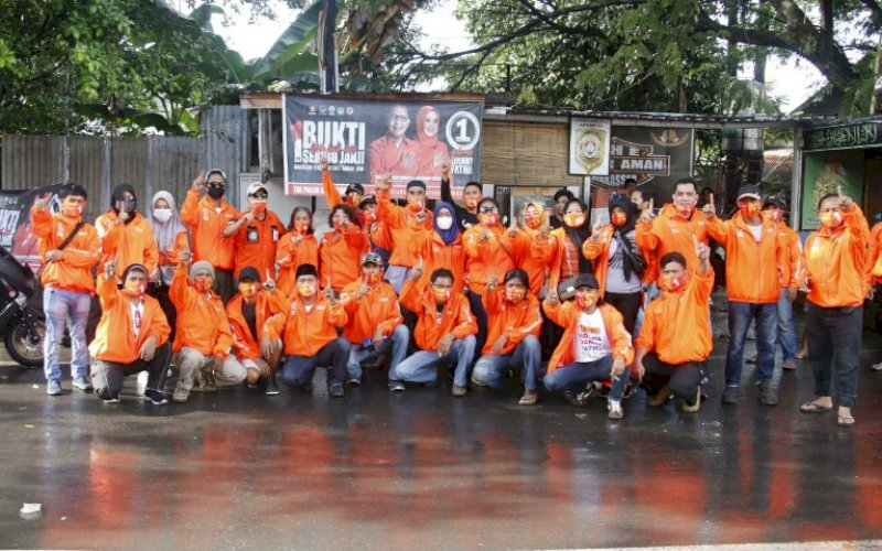 DUKUNGAN. Pendukung pasangan Mohammad Ramdhan Pomanto-Fatmawati Rusdi (Danny-Fatma) terus massif bergerak memenangkan Pilwalkot Makassar 2020. foto: istimewa
