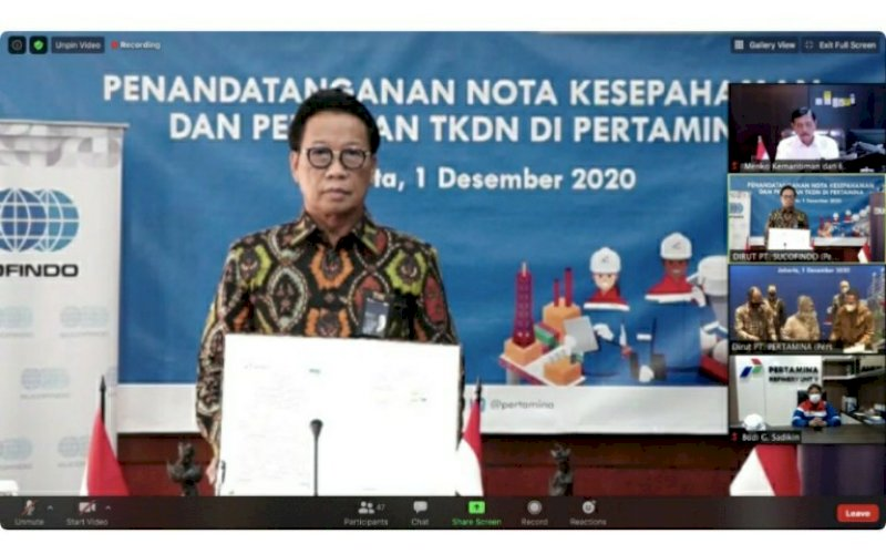 KERJA SAMA. Direktur Utama PT Sucofindo (Persero), Bachder Djohan Buddin, pada penandatanganan nota kesepahaman antara PT Sucofindo (Persero) dengan PT Pertamina (Persero) di Jakarta, Selasa (1/12/2020). foto: istimewa