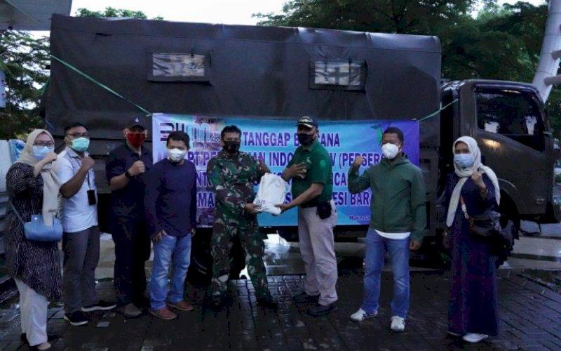 BANTUAN. Pelepasan bantuan PT Pelabuhan Indonesia IV (Persero) untuk korban gempa Sulbar, Sabtu (16/1/2021). foto: humas pelindo IV