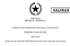 Presiden Teken Perpres 8/2021 tentang Kebijakan Umum Pertahanan Negara Tahun 2020-2024