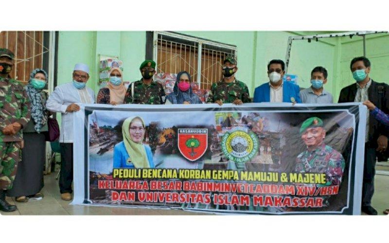 BANTUAN. Rektor UIM, DR Ir Hj A Majdah M Zain, melepas paket bantuan bagi korban terdampak gempa di Auditorium KH Muhyiddin M Zain, Selasa (19/1/2020). foto: humas uim