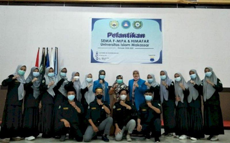 PELANTIKAN. Pelantikan pengurus SEMA Fakultas MIPA periode 2020-2021 di Auditorium KH Muhyiddin Zain UIM, Jumat (19/2/2021). foto: istimewa