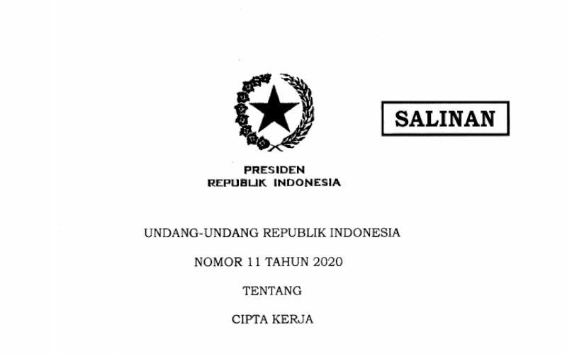 UU. Undang-Undang Nomor 11 Tahun 2020 tentang Cipta Kerja. foto: istimewa