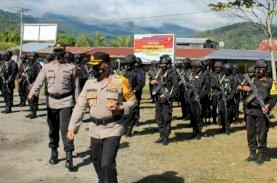 Jelang Putusan PHPU di MK, Brimob Sulsel Apel Gelar Pasukan di Polres Yalimo