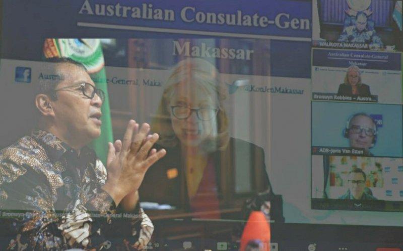 VIRTUAL MEETING. Wali Kota Makassar, Moh Ramdhan Pomanto, melakukan virtual meeting dengan Asian Development Bank (ADB), Kamis (25/3/2021). foto: humas pemkot makassar