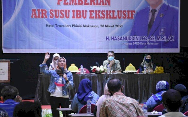 SOSIALISASI PERDA. Anggota DPRD Kota Makassar, Hasanuddin Leo, menggelar sosialisasi Perda nomor 3 tahun 2016 tentang Pemberian ASI Eksklusif di Hotel Travelers Phinisi Makassar, Minggu (28/3/2021). foto: istimewa