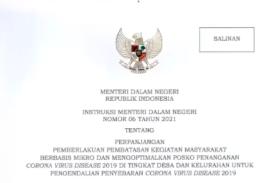 Mendagri Keluarkan Instruksi Pelaksanaan PPKM Mikro di 15 Provinsi
