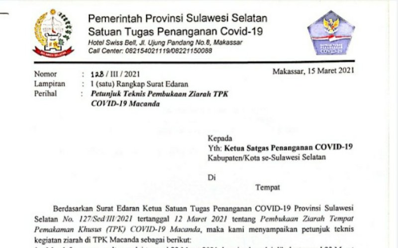 JUKNIS. Petunjuk teknis pembukaan ziarah TPK Covid-19 Macanda, Kabupaten Gowa. foto: humas pemprov sulsel