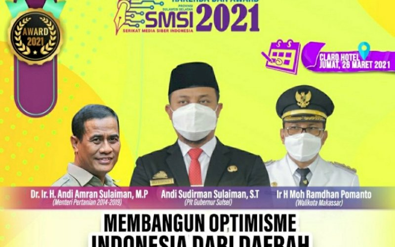 RAKERDA. SMSI akan menggelar rakerda dan pemberian penghargaan kepada tokoh peduli pers di Sulsel di Hotel Claro Makassar, Jumat (26/3/2021). foto: smsi sulsel