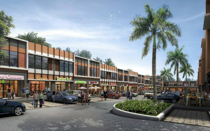 RUKO. Ilustrasi ruang komersial pertama, Ruko Graha Boulevard, yang akan dibangun Summarecon Mutiara Makassar. foto: humas smm