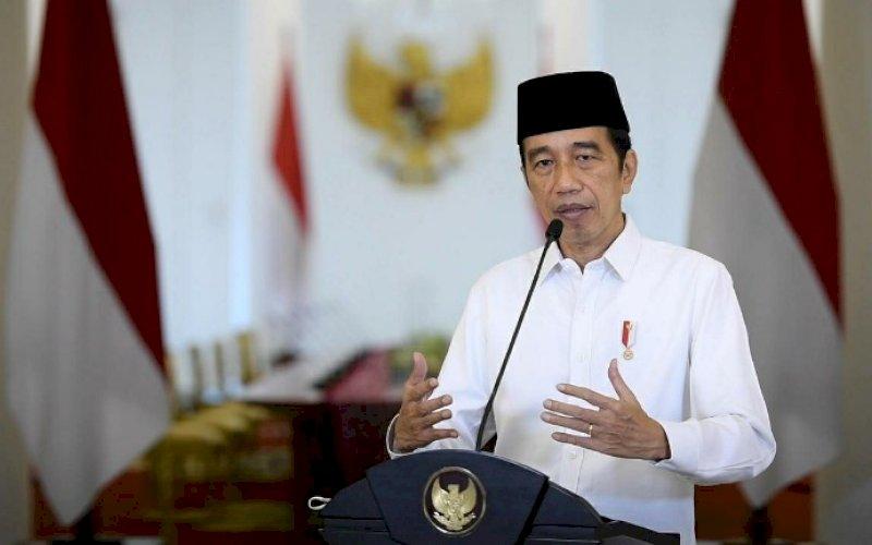 SAMBUTAN VIRTUAL. Presiden Joko Widodo saat menyampaikan sambutan secara virtual pada Tanwir ke-1 Pemuda Muhammadiyah, Jumat (2/4/2021). foto: bpmi setpres
