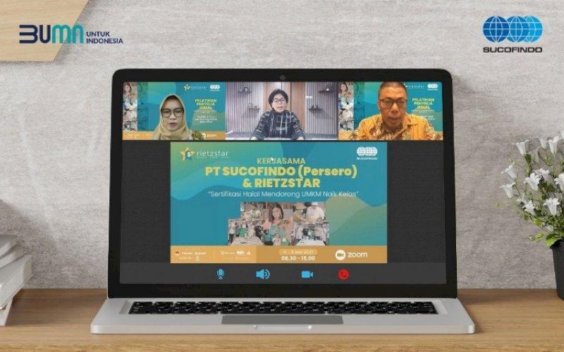 PELATIHAN. Suasana pelatihan penyelia halal gratis bagi 25 UMKM yang digelar PT Sucofindo (Persero) selama dua hari melalui layananmeeting online, 4-5 Mei 2021. foto: humas sucofindo