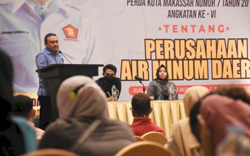SOSIALISASI PERDA. Anggota DPRD Kota Makassar, Nunung Dasniar, menggelar sosialisasi Perda nomor 7 tahun 2019 tentang Perumda Air Minum Kota Makassar di Hotel Dalton Makassar, Selasa (11/5/2021). foto: istimewa