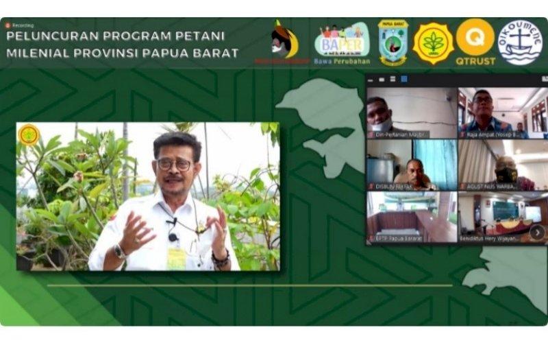 PELUNCURAN. Mentan Syahrul Yasin Limpo secara virtual meluncurkan Program Petani Milenial Provinsi Papua Barat, Kamis (20/05/2021). foto: tim stafsus presiden