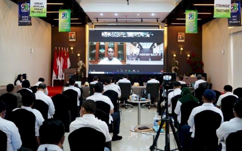 RAKER. Rapat Kerja (Raker) I PT Pelindo IV di Ruang Rapat Lantai 7 Kantor Pusat Pelindo IV Makassar, Kamis (27/5/2021). foto: humas pelindo IV