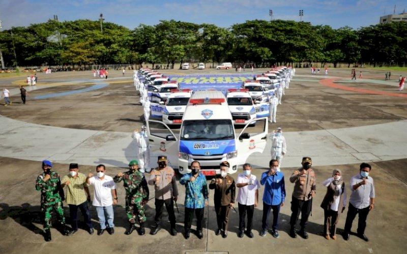 LAUNCHING. Suasana launching tim Covid Hunter di Tribun Karebosi Makassar, Jumat (4/6/2021). foto: humas pemkot makassar