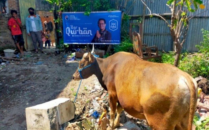 BERKURBAN. Partai Gelora Makassar telah melaksanakan kegiatan pemotongan hewan kurban di Hari Raya Iduladha 1442 H jatuh pada Selasa (20/7/2021). foto: istimewa
