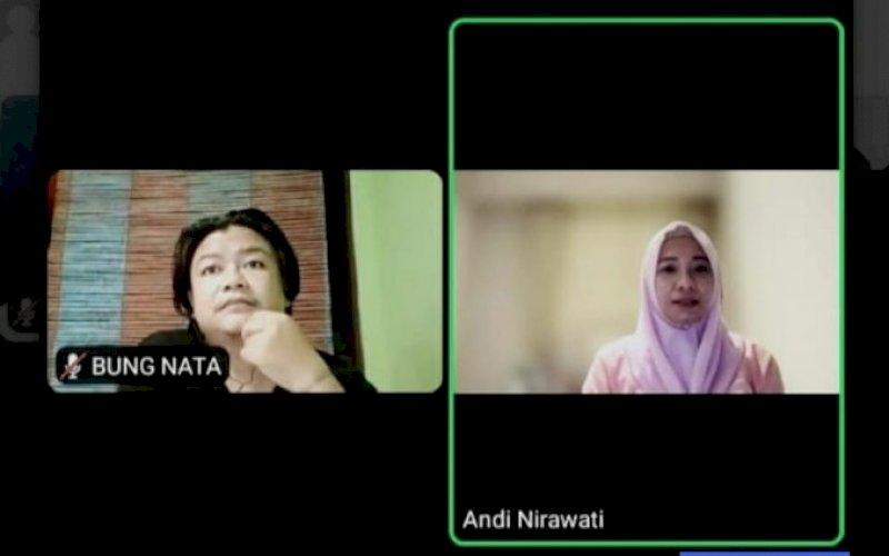 DIALOG VIRTUAL. Women Entreprenuer, Andi Nirawati (kanan), menjadi narasumber dialog publik dengan mengangkat tema 'Pulihkan Perekonomian Masyarakat di Tengah Pandemi Covid-19 dan Solusi UMKM di Situasi PPKM' via Zoom meeting, Rabu (28/7/2021). foto: istimewa