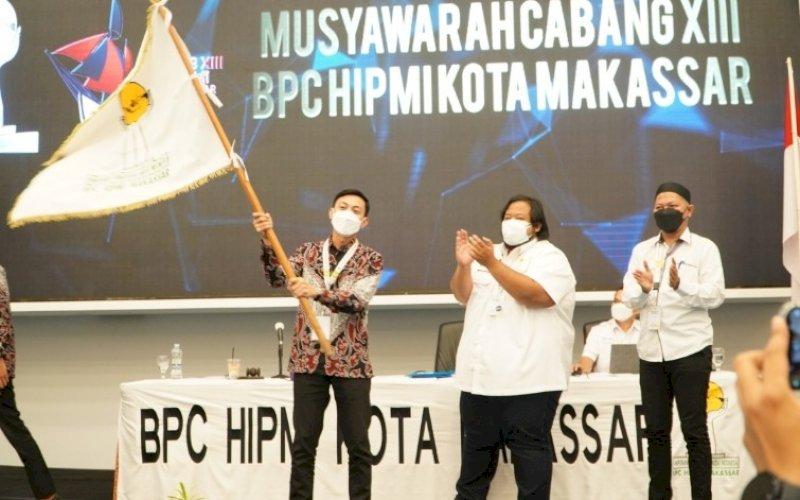KETUA TERPILIH. Fadel Muhammad Tauphan Ansar terpilih sebagai Ketua Umum Hipmi Kota Makassar masa bakti 2021-2024 pada Muscab XIII Hipmi Makassar di Hotel Claro Makassar, Jumat (20/8/2021). foto: istimewa