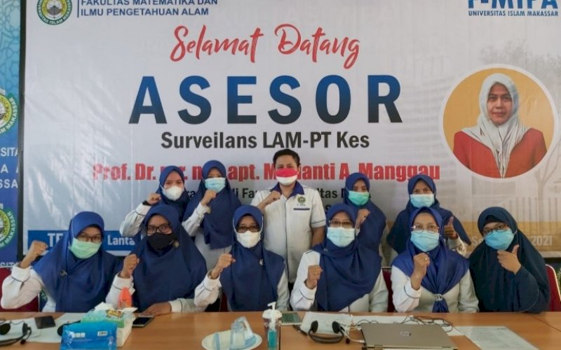 SURVEILANS. LAM-PTKes Program Studi Farmasi FMIPA UIM menggelar surveilans secara daring, Selasa (14/9/2021). foto: istimewa