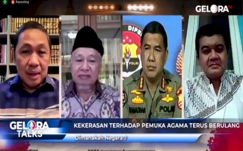 GELORA TALK. Gelora Talks bertajuk 'Kekerasan terhadap Pemuka Agama Terus Berulang, Dimanakah Negara? di Jakarta, Rabu (29/9/2021). foto: istimewa