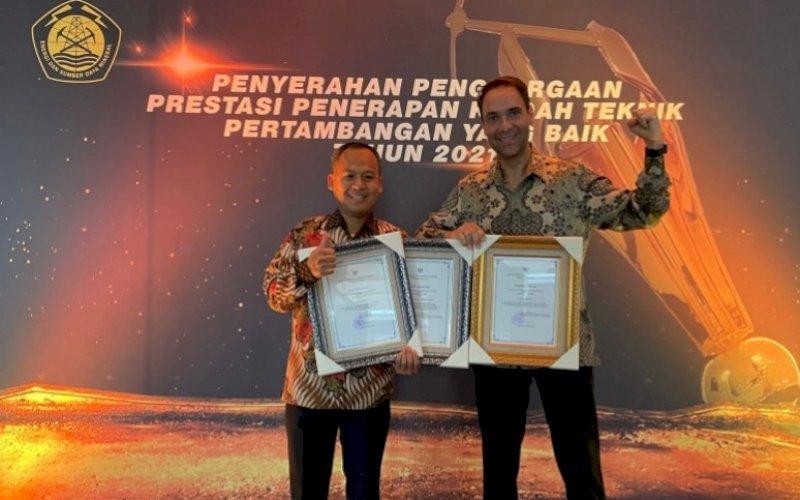 TERIMA PENGHARGAAN. PT Vale Indonesia Tbk (PT Vale) meraih Good Mining Practice Award (Penghargaan Praktik Pertambangan yang Baik) 2021 dari Kementerian ESDM untuk tiga kategori penghargaan di Jakarta, Rabu (29/9/2021). foto: istimewa