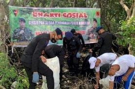 HUT Brimob Ke-76, Batalyon C Pelopor Bersihkan Pantai dan Tanam Mangrove